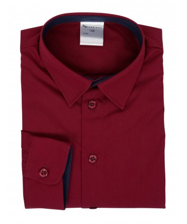 Kevin, shirt for boys, dark red, dark blue