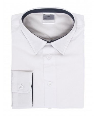 Kevin, shirt for boys, white, dark blue