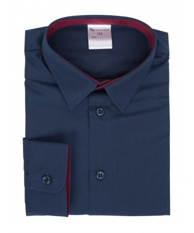 Kevin, shirt for boys, dark blue, dark red