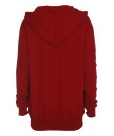 Hooded zip sweat, red