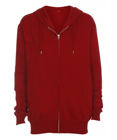 Hooded zip sweat, red