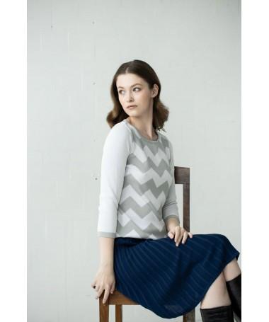 Sandra 1 sik-sak džemper helehall