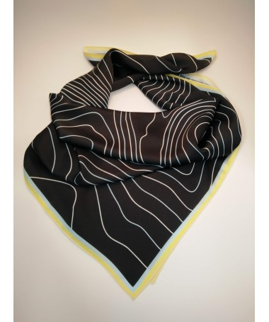 Scarf KJG, black with white and blue pattern